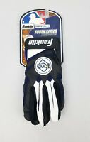 Franklin Youth Series Batting Gloves 1 White/Black/Blue MLB Rays Size L Youth