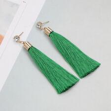 Charm Women Boho Rhinestone Green Fringed Long Tassel Dangle Drop Earrings Gift