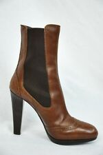 MIU MIU Womens Brown Leather High Heel Ankle Stretch Wing Tip Boot Bootie 10-40