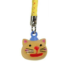 KITTY CAT BELL CHARM Mobile Cell Phone Brass Strap NEW
