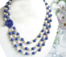 Wonderful! 7-8MM White Akoya Pearl & Lapis lazuli Beads Necklace Flower Clasp