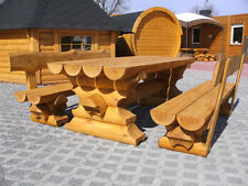 RBSGRL2m Rundbohle Garten Sitzgarnitur Tisch 2 Bänke Lehne Biergarten Sitzgruppe