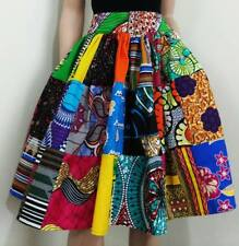 'Patchwork' African Printed Knee Length/Midi Skirt 100% Wax Cotton Handmade UK