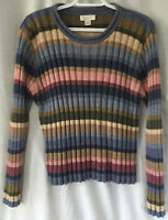 Christopher & Banks Pullover Sweater Large Stripes Blue Green Tan Rolled Neck
