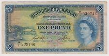 Bermuda Banknote 1 Pound 1952 P20a VF First Date Queen Elizabeth Paper Money