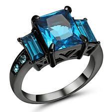 Gorgeous Blue CZ Aquamarine Wedding Ring 10KT Black Gold Filled Women's Size 7