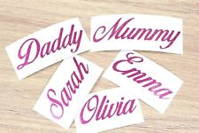 2x Personalised Sticker Name or Text Custom Lettering Vinyl Decal Pink Glitter B