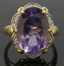 9Carat Yellow Gold Amethyst (4.1ct) & Diamond Cluster Ring Size M 1/2