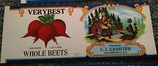 VERYBEST WHOLE BEETS Tin Can Label scarce 1920'S Cedartown Georgia OLD