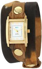 NEW La Mer Collections LMSTW3015 Women's Brown Tie-Dye Wrap-Around Gold SS Watch