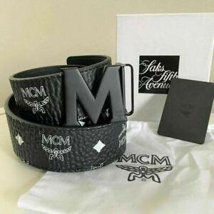 Authentic Men's MCM Black Reversible Leather Belt M Buckle ONE SIZE