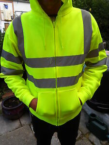 Hi Vis Hooded Yellow Zippered Sweat Shirt Sizes S to 3XL