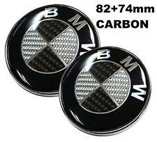 82+74mm  Carbon Schwarz weiss Emblem Vorne Motorhaube e46 e90 e60 e39 1 3 5 7