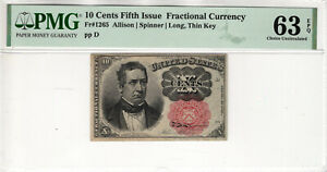10 CENT FIFTH ISSUE POSTAL FRACTIONAL CURRENCY FR.1265 PMG CHOICE UNC 63 EPQ