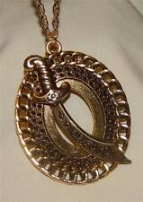 Large Openwork Chain Link Rim Swirl Etched Saber Sword Goldtone Pendant Necklace