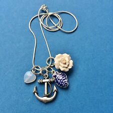 ANCHOR FISH SAILOR NECKLACE SILVER PISCES CHARM PENDANT HEART SEA ROSE NAUTICAL