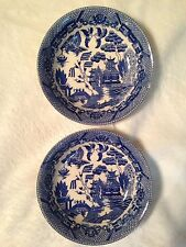 2 Antique Pottery China BLUE WILLOW Berry Bowls Made In Japan