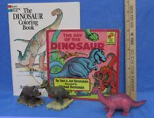 Vintage Dinosaur Figurines Playskool Toy Coloring & Children Book Lot of 5