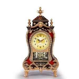 Vintage Pendulum Clock Classical Royalty Desk Creative Sit Bronze/Red