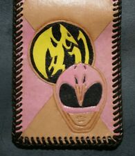 Pink Power Ranger leather wallet - One of a Kind - Real Hand Tooled Wallets