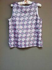 Oscar De La Renta White/Pink/Black Silk Sleeveless Womens Top Size 10