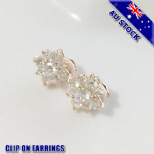 18K Gold Plated Clear CZ Crystal Flower Clip On Earrings Gift