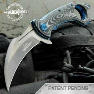Gil Hibben Warbird Linerlock Black Micarta Karambit Blade Folding Pocket Knife