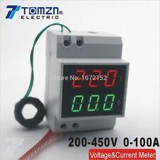 Din rail LED display Voltage current meter extra CT range AC 200-450V 0.1-99.9A