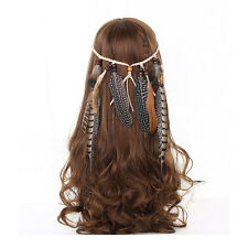 Indian Feather Headband Handmade Weave Feathers Hair Rope Headpiece Headdress