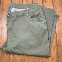 Catherines Womens Plus 30W Sateen Stretch Crop Capri Jeans Green Pants