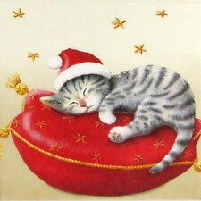 4x Paper Napkins for Decoupage Decopatch Christmas Santa Cat