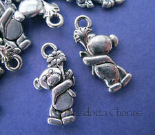 50 TEDDY BEAR CHARMS 18mm SILVER TONE JEWELLERY MAKING CHILD BABY WHOLESALE (J)