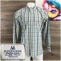 MIZZEN + MAIN Mens Plaid Check Button Front Long Sleeve Shirt Size 2XL Trim Fit