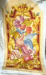 Antique French floral woollen tapestry chair back, dragon