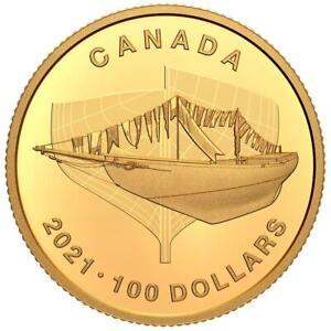 Kanada 100 Dollar 2021 Bluenose - 100. Jubiläum des Großseglers - 7,8 gr Gold PP