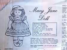 "Daisy Kingdom MARY JANE DOLL Stuffed Cut & Sew Fabric Panel 24""  1993"