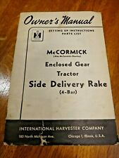 1950 McCormick IH Enclosed Gear Tractor Side Delivery Rake Owners Parts Manual