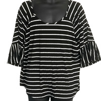 Roommates Plus 3X Black White Striped Top Scoop Neck 3/4 Bell Sleeves Stretch