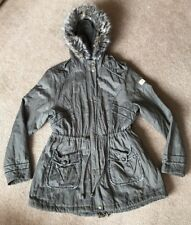 Lipsy London Khaki Green Parka Coat Faux Fur Uk Size 18 Good Condition !