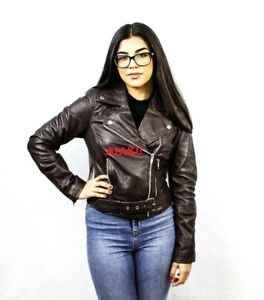 AIAKU  UK Women Real sheep  Leather Biker Jackets in Brown Size  S, M,L,XL