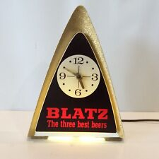Vintage Blatz Beer Sign Lighted Back Bar/Register Topper Clock Light From 1970