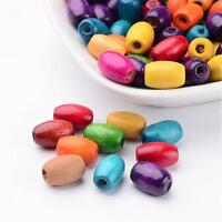 100 PCS Mixed Oval Wooden Beads Dyed for DIY about 8mm wide 12mm long hole 3mm