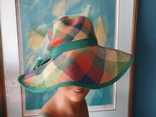 Chapeau ancien en paille multicolore des années 70 - 873