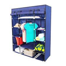 "New Portable Closet Wardrobe Clothes Rack Storage Organizer With Shelf Blue 53"""