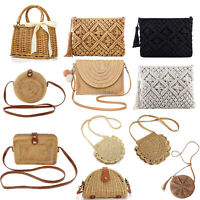 Women Straw Bags Crossbody Purse Beach Handmade Woven Shoulder Bag with Tassels