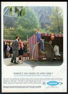1967 high wheel penny farthing bike photo Sabena European vintage print ad