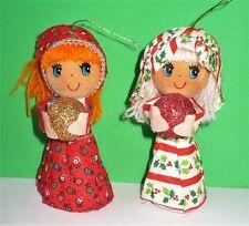 2 VINTAGE CHRISTMAS GIRLS HOLDING GLITTER BALLS CARDBOARD YARN CLOTH TREE ORNAME