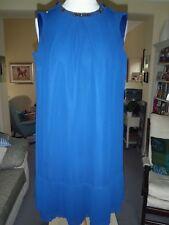 Esprit Navy Blue Ciffon Shift Dress with Beaded neckline UK Size 12