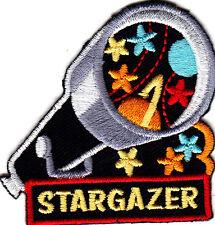 """STARGAZER"" w/TELESCOPE & STARS/Iron On Embroidered Applique/Astrology, Hobby"