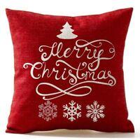 Weihnachten Kiefer Schneeflocke Frohe Weihnachten In Rotem Flachs Dekokissenb OE